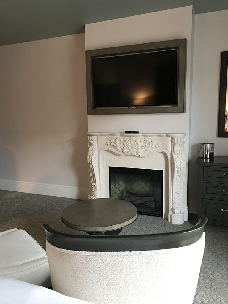 French style electric fireplace at Mirbeau Inn & Spa in Rhinebeck, NY