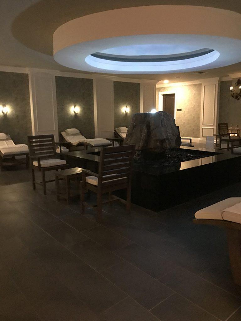 zen spa waiting area of Mirbeau Inn & Spa in Rhinebeck, NY