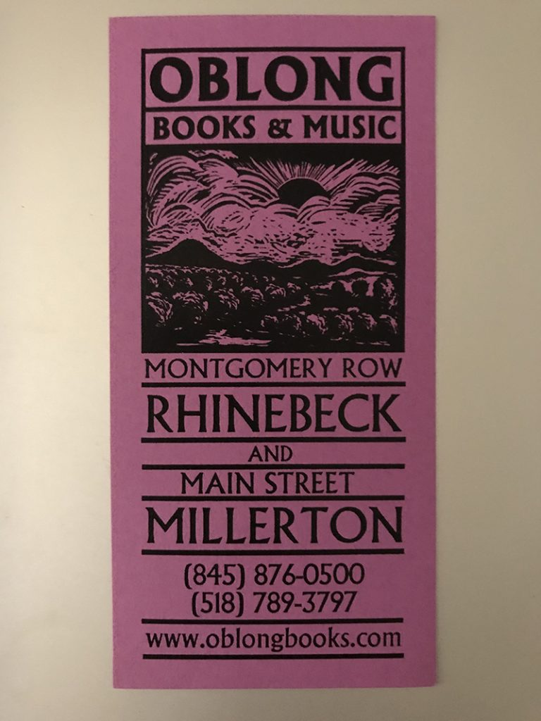 bookmark giveaway from Oblong Books & Music in Rhinebeck, NY