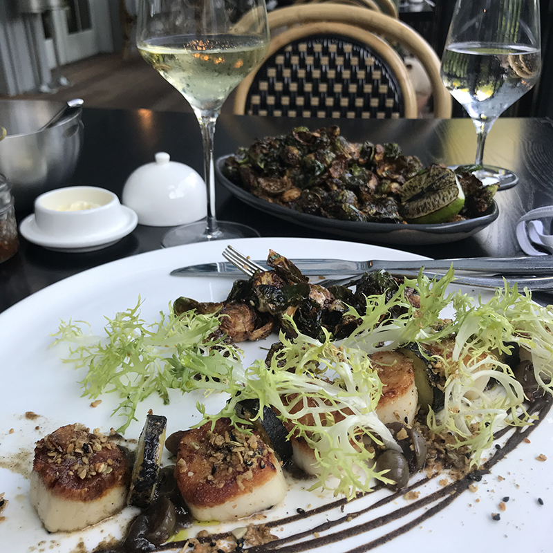 scallops and brussel sprouts at restaurant Willow by Charles Palmer in Rhinebeck, NY