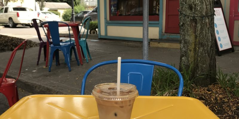 iced almond milk latte + chocolate truffle at Samuel's Sweet Shop in Rhinebeck, NY
