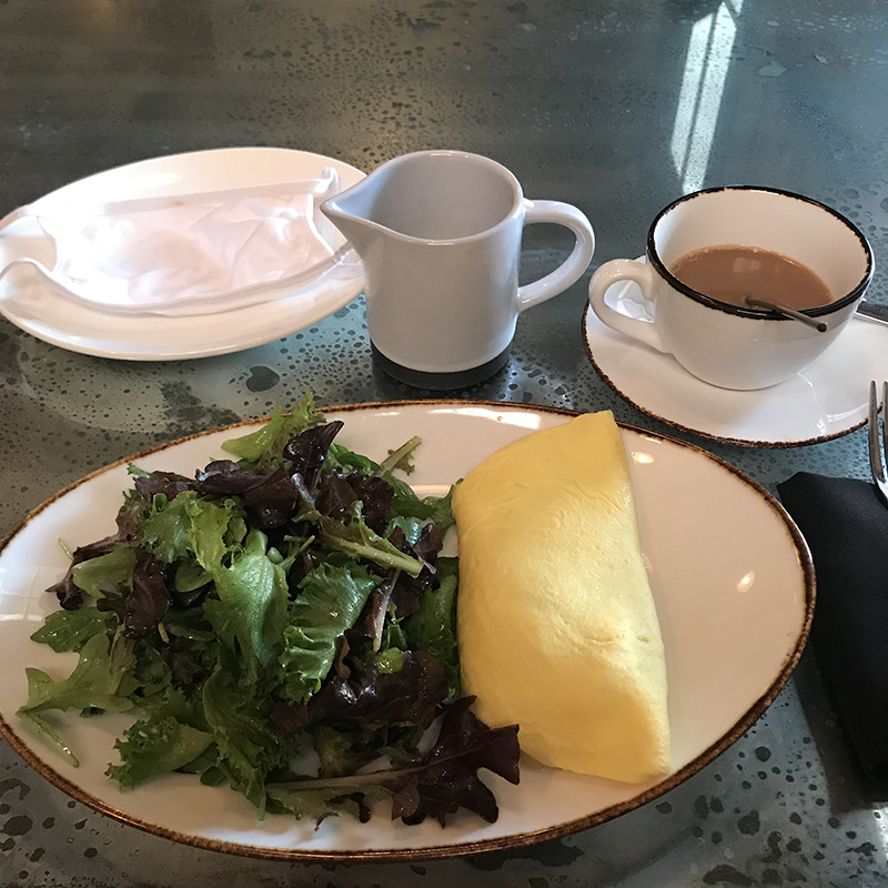 breakfast omelet, salad and coffee at The Amerdam in Rhinebeck, NY