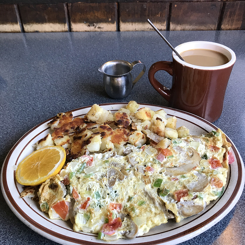 breakfast omelet, home fries and coffee at Historic Village Diner in Red Hook, NY